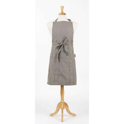 Railroad Stripe Denim Bib Apron and Oven Mitt Set