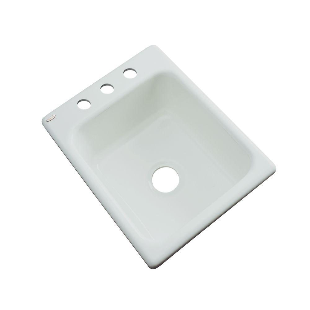 Thermocast Crisfield Drop-In Acrylic 17 in. 3-Hole Single Basin Prep Sink in Sterling Silver