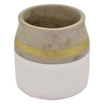 6.75 in. Flower Pot White and Gold