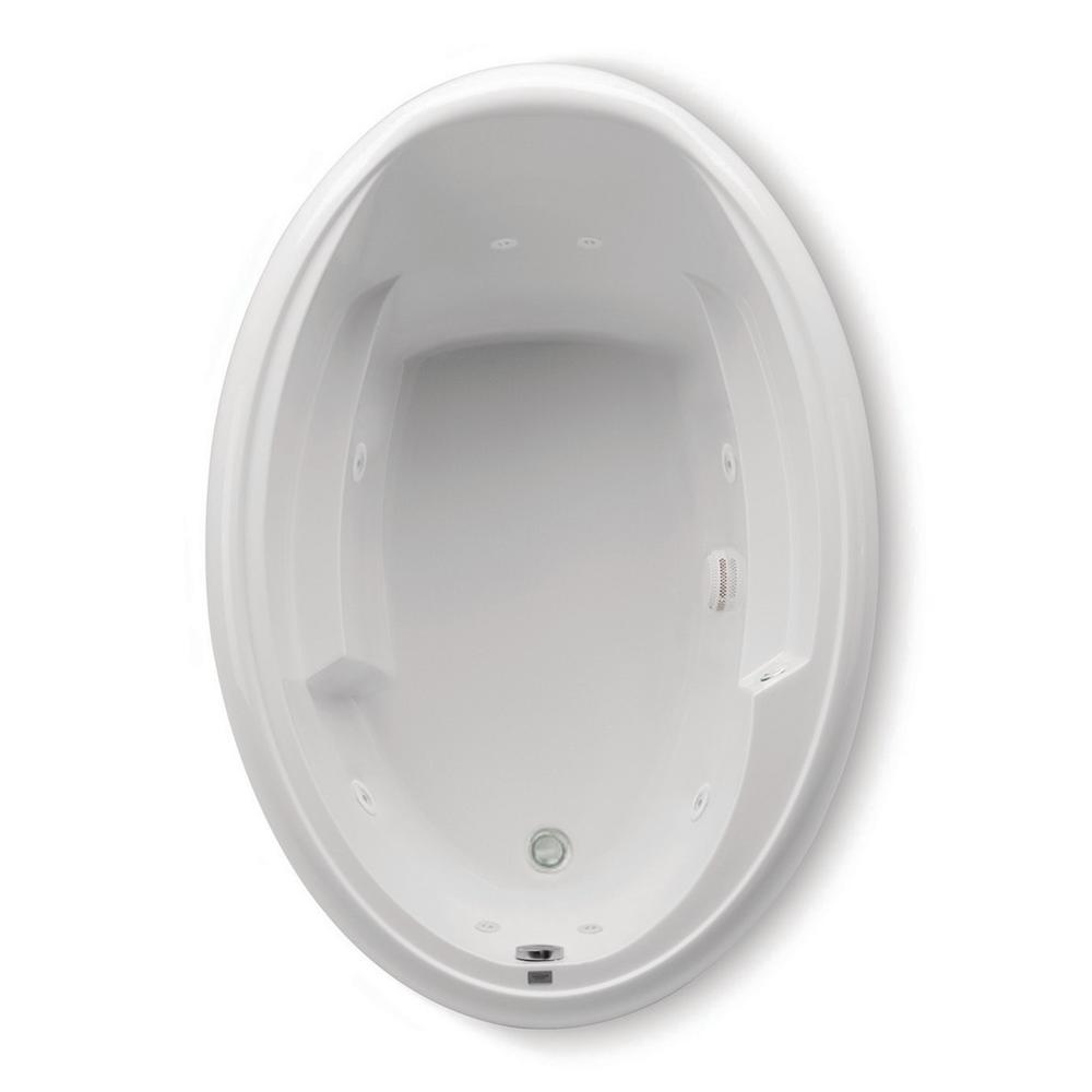 Aquatic Ariel I 60 in. Acrylic Reversible Drain Oval Drop-In Whirlpool Bathtub in White