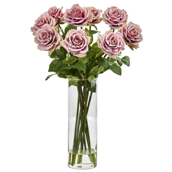 Nearly Natural Indoor Rose Artificial Arrangement in Cylinder Vase 1798-MA