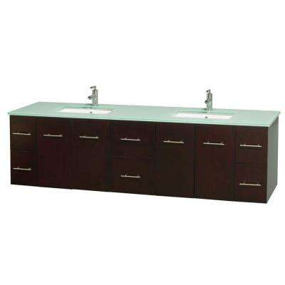 Centra 80 in. Double Vanity in Espresso with Glass Vanity Top in Green and Undermount Sinks