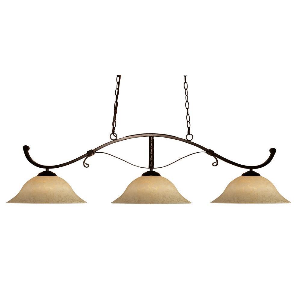 Filament Design Lawrence 3-Light Bronze Incandescent Ceiling Island Light