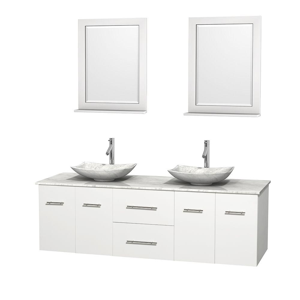 Wyndham Collection Centra 72 in. Double Vanity in White with Marble Vanity Top in Carrara White, Marble Sinks and 24 in. Mirror