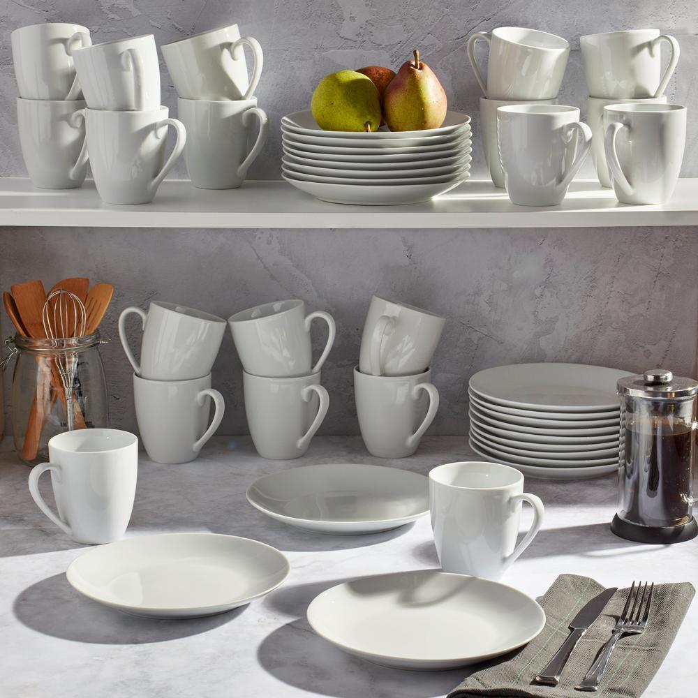 40-Piece Contemporary White Porcelain Dinnerware Set (Service for 20)