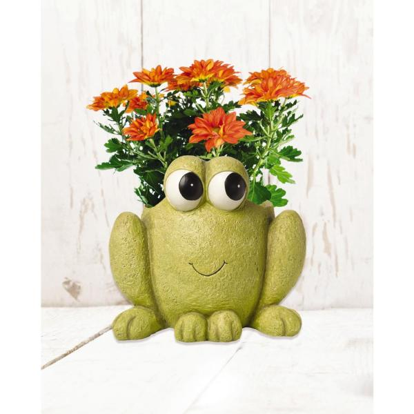 Precious Moments Frog Hop To It 6 in. Dia Green Resin Planter
