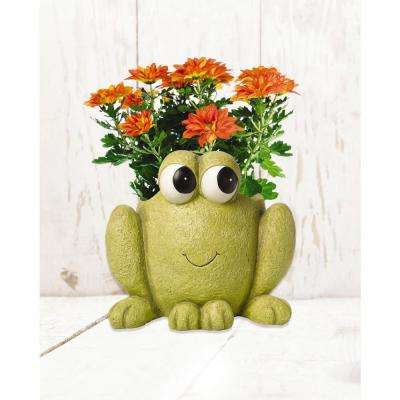 Frog Hop To It 6 in. Dia Green Resin Planter