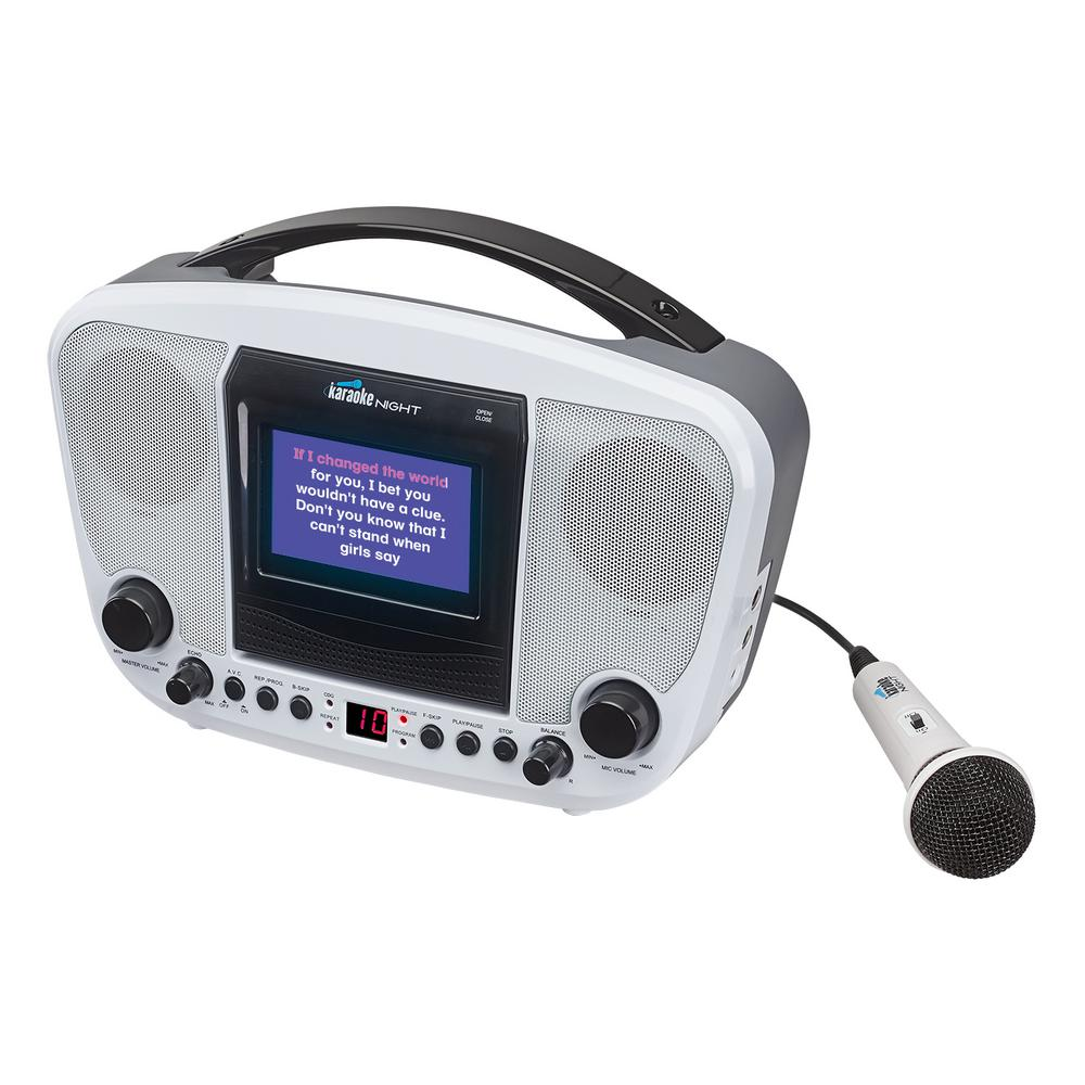 Cd+g Karaoke Machine with 4.3  TFT Color Monitor, White This compact CD+G karaoke machine is proof that good things come in small packages. Our KN105 is more than capable of providing the big sound for getting the karaoke party started. Not only will the sound from this little karaoke machine attract a large, enthusiastic crowd but the convenient, built-in color monitor displays the song lyrics right on the unit for ease of use. This ultra-portable karaoke machine with microphone is the perfect system for those entering the wildly popular world of karaoke for the very first time. Color: White.