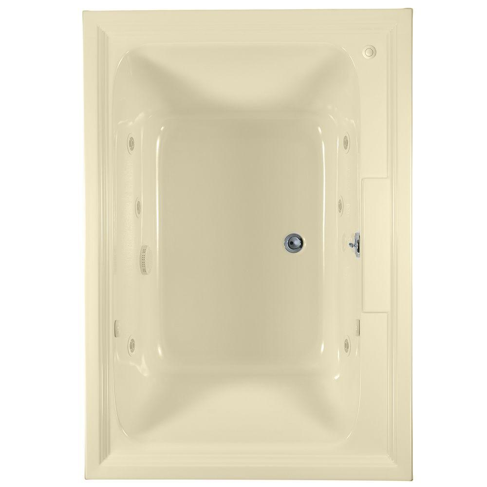 American Standard Town Square 5 ft. x 42 in. Center Drain EcoSilent EverClean Whirlpool Tub in Linen