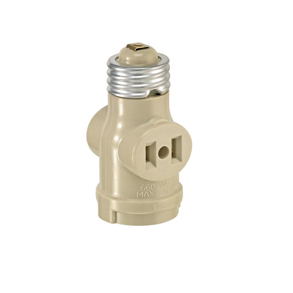 660-Watt 15 Amp 2-Outlet Socket Adapter, Ivory