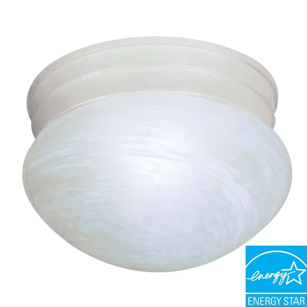 1-Light Textured White Flushmount Light