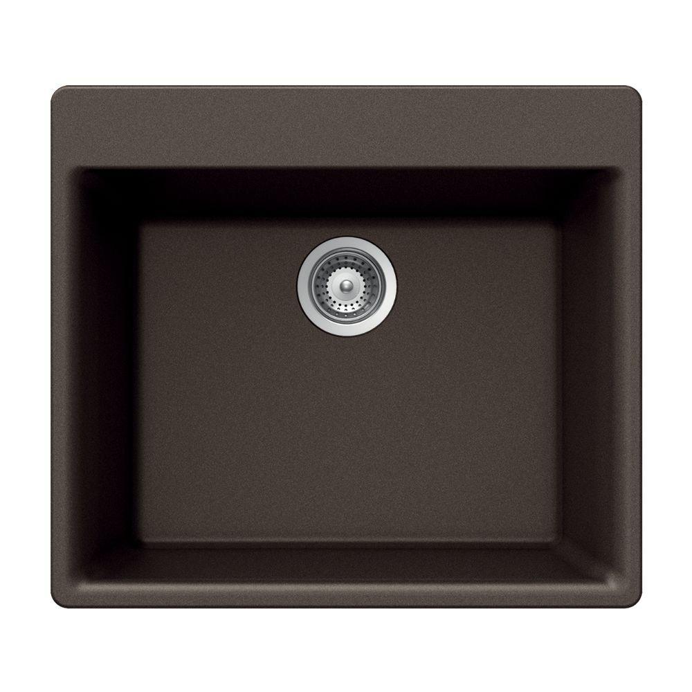 Quartztone Drop-In Composite Granite 24 in. 1-Hole Single Bowl Kitchen Sink in Mocha