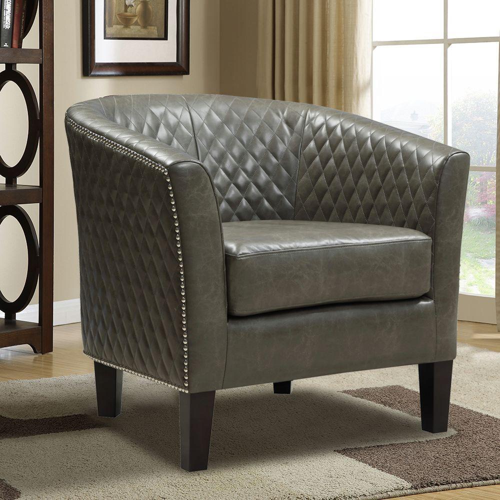 pri brown leather arm chair