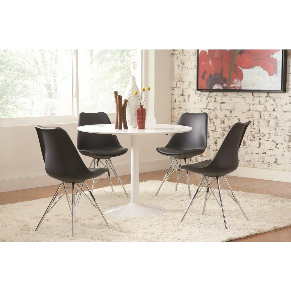 Coaster lowry collection black and chrome dining chair for Furniture coasters home depot