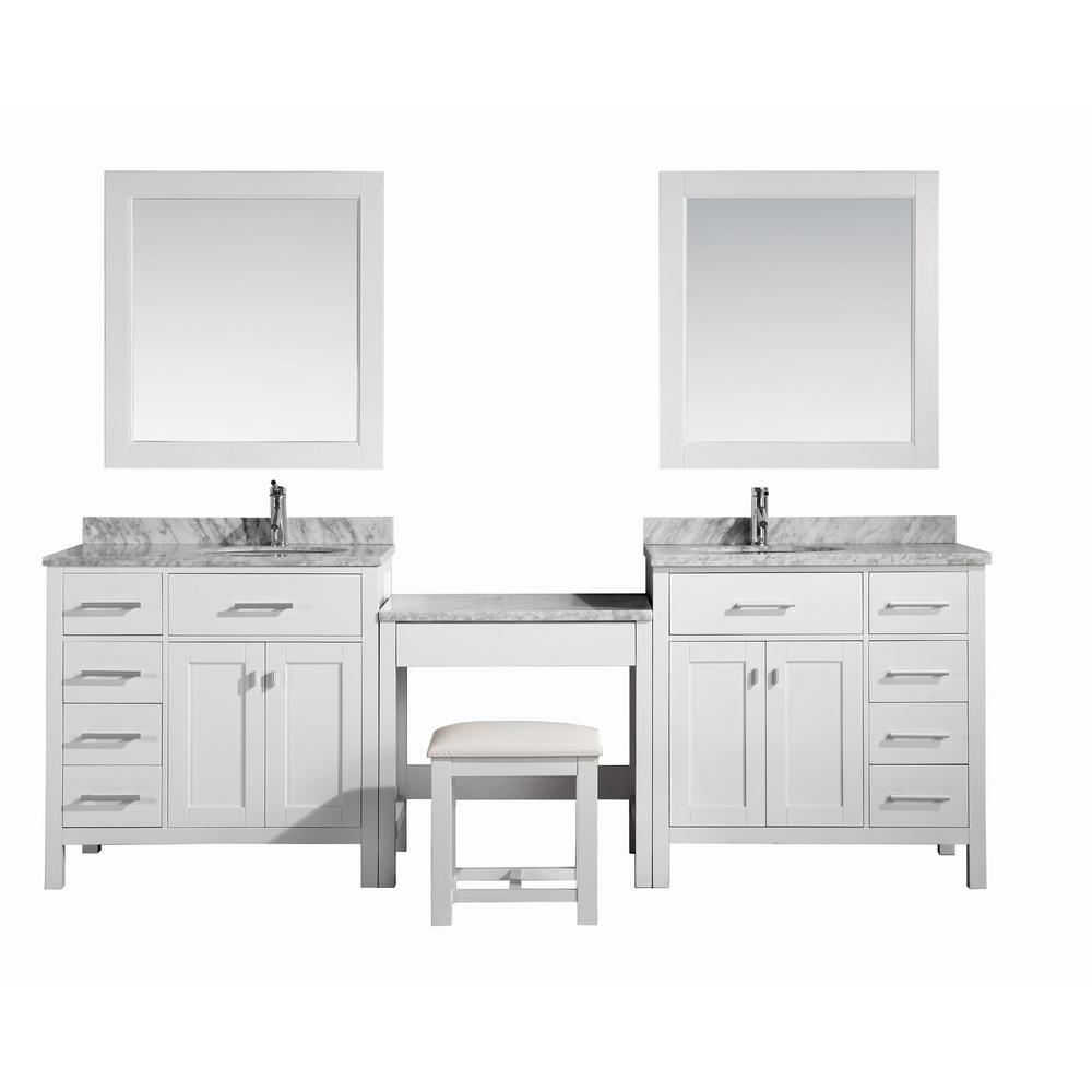 Design Element Two London 36 In W X 22 In D Vanity In White With Marble Vanity Top In Carrara White Mirror And Makeup Table Dec076d W Dec076d L W Mut W The Home Depot
