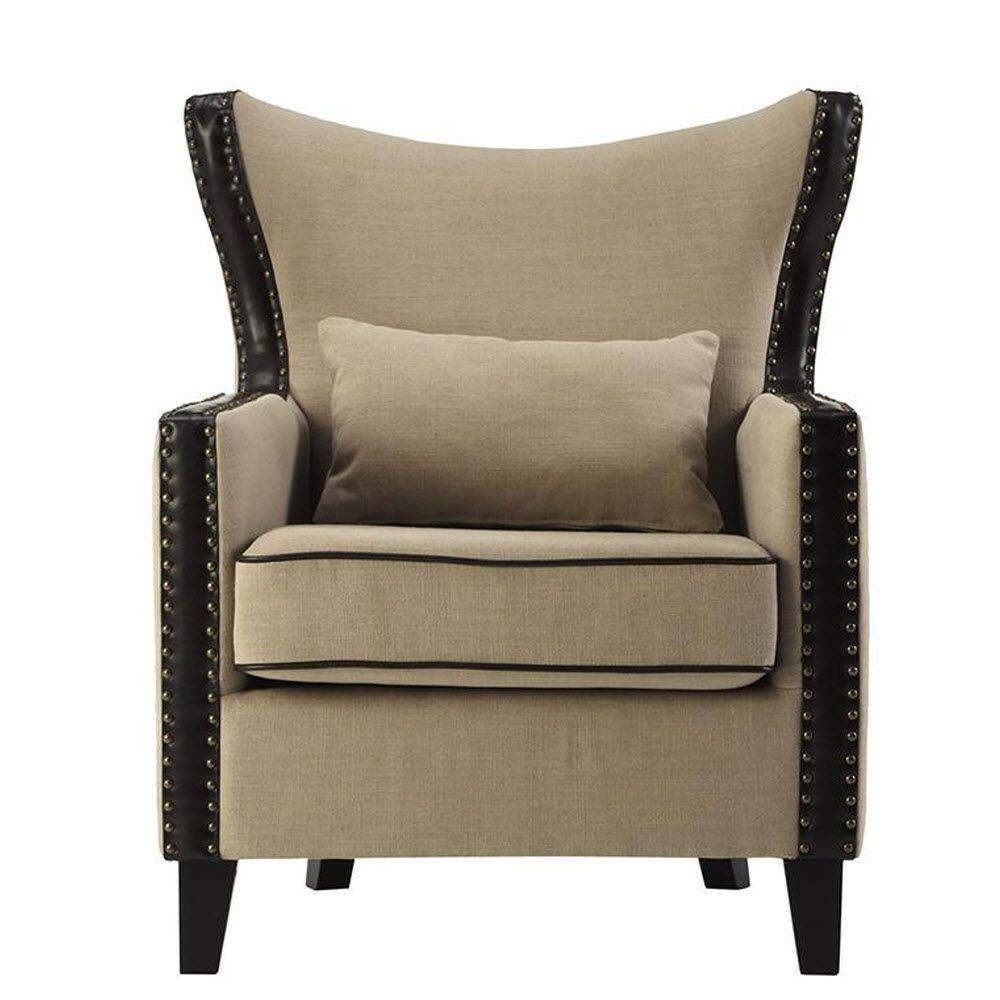 Home Decorators Collection Meloni Dark Beige Linen Bonded Leather Arm Chair