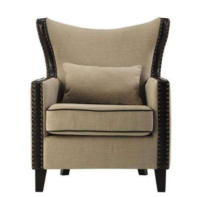 Meloni Dark Beige Linen Bonded Leather Arm Chair