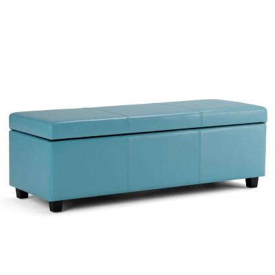 Avalon 48 in. Contemporary Storage Ottoman in Blue Faux Leather