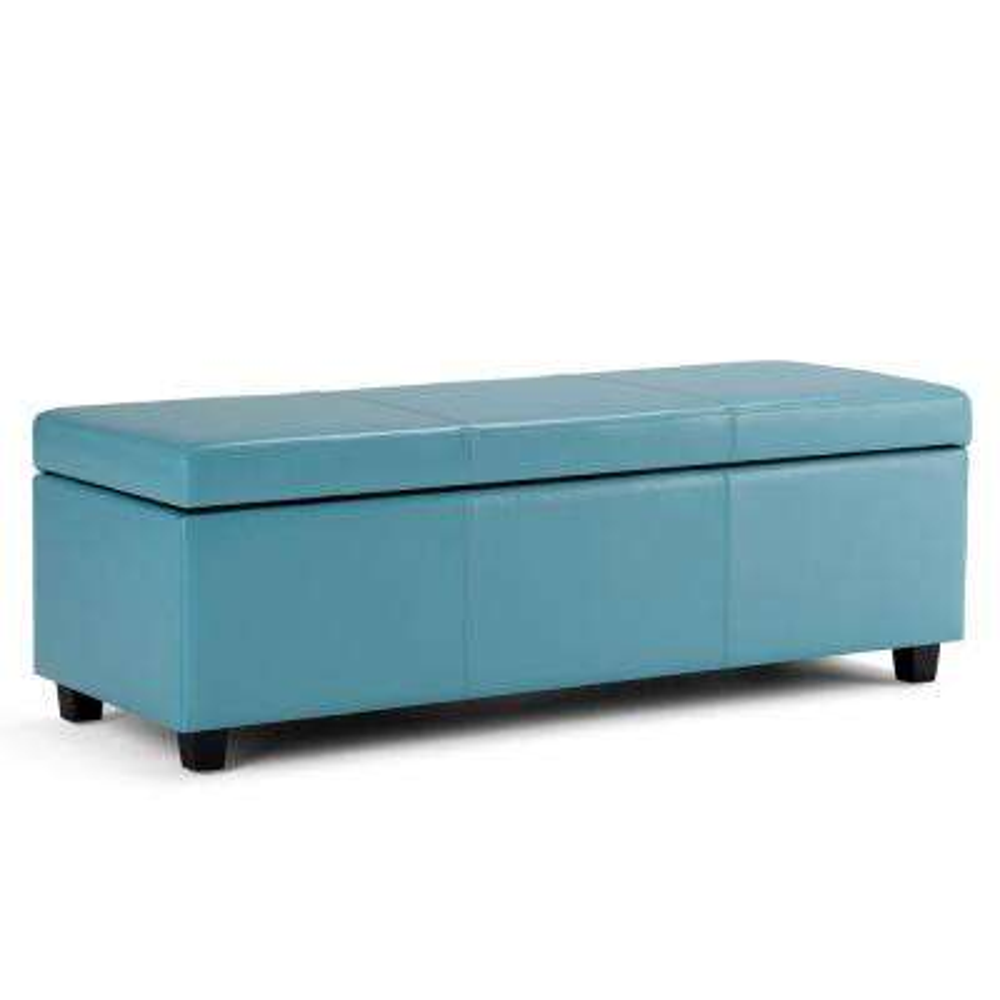 Avalon Blue Large Storage Ottoman Bench