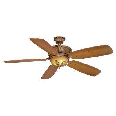 Eden Lake 54 in. Indoor Distressed Walnut Ceiling Fan with Light Kit and Remote Control