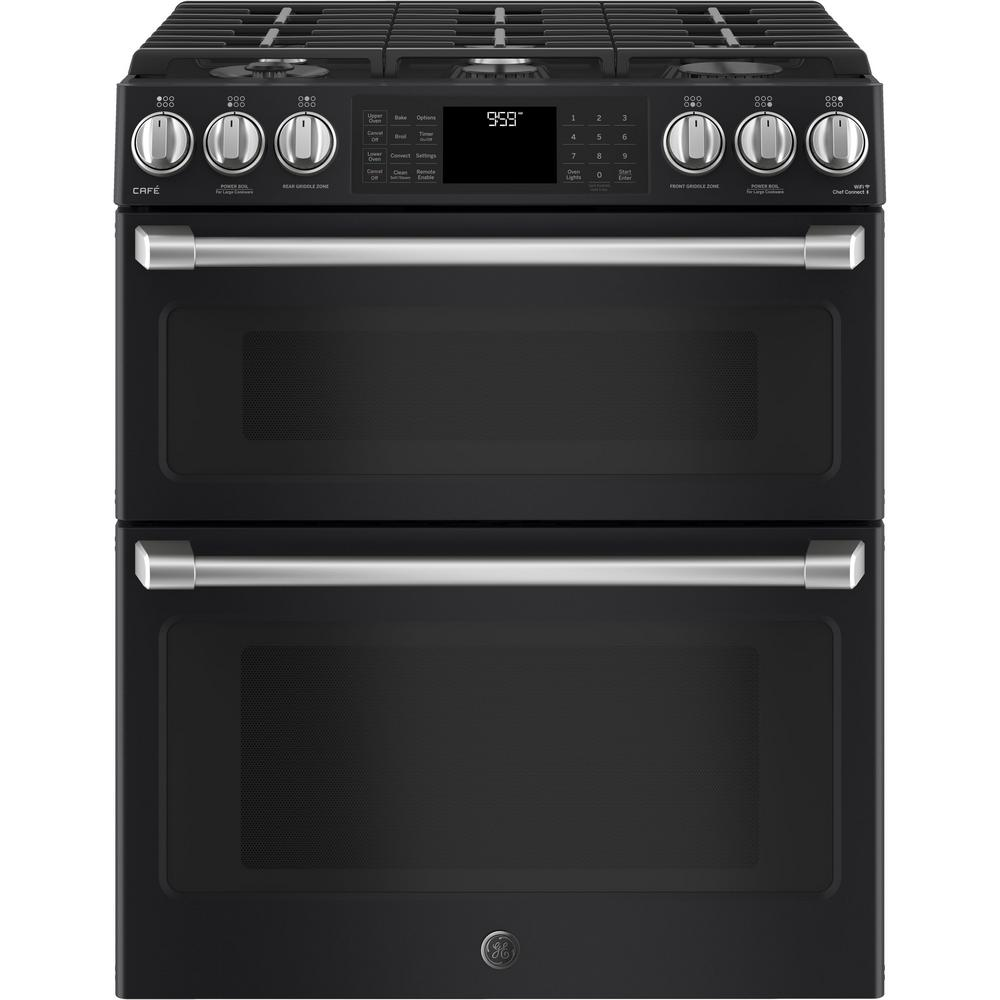 GE Cafe 6.7 cu. ft. Slide-In Double Oven Smart Gas Range with Self-Cleaning Convection Oven in Black Slate