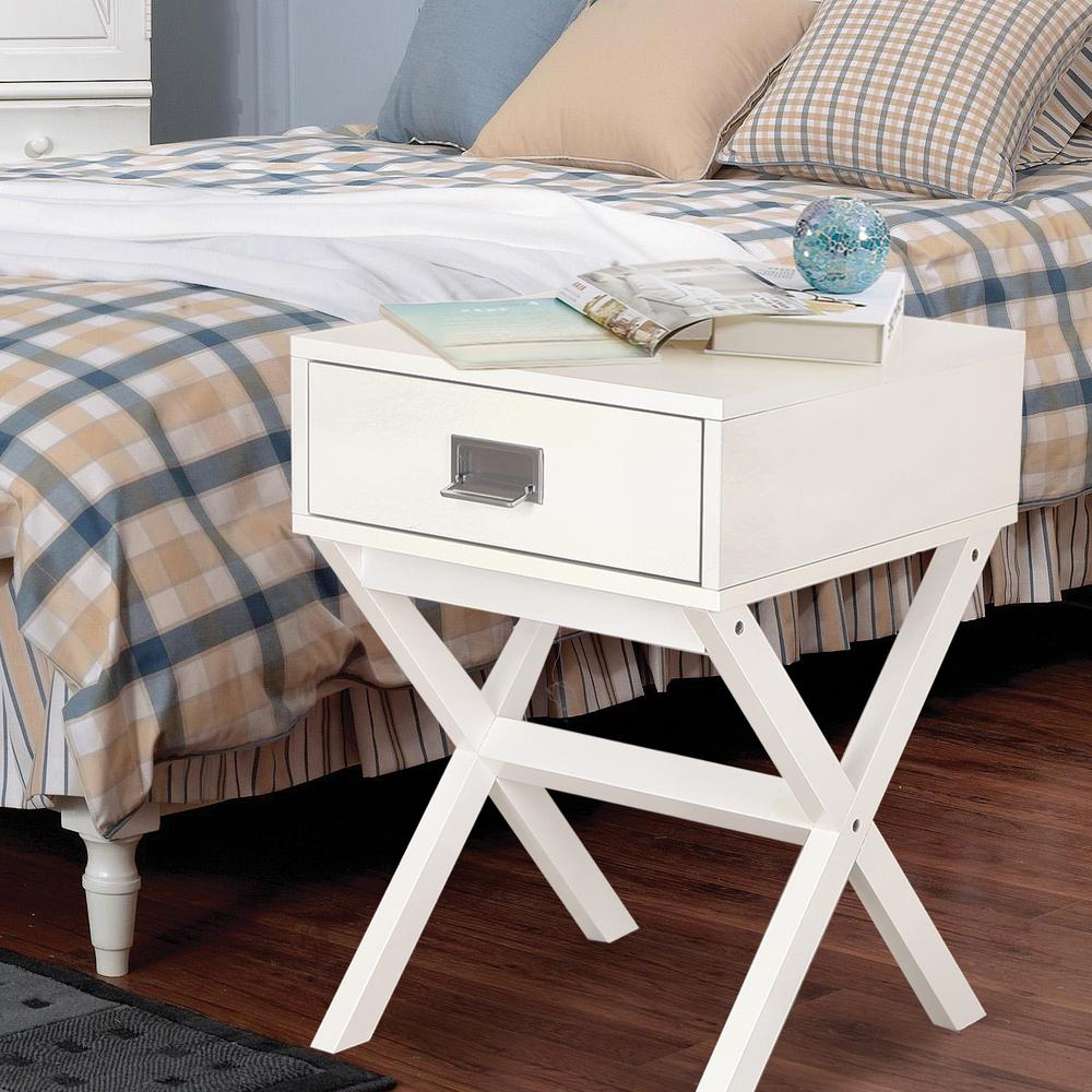 1-Drawer White Nightstand