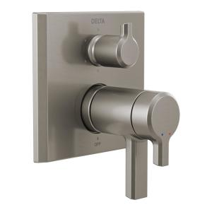 Pivotal 2-Handle Wall-Mount Valve Trim Kit with 6-Setting Integrated Diverter in Stainless (Valve not Included)