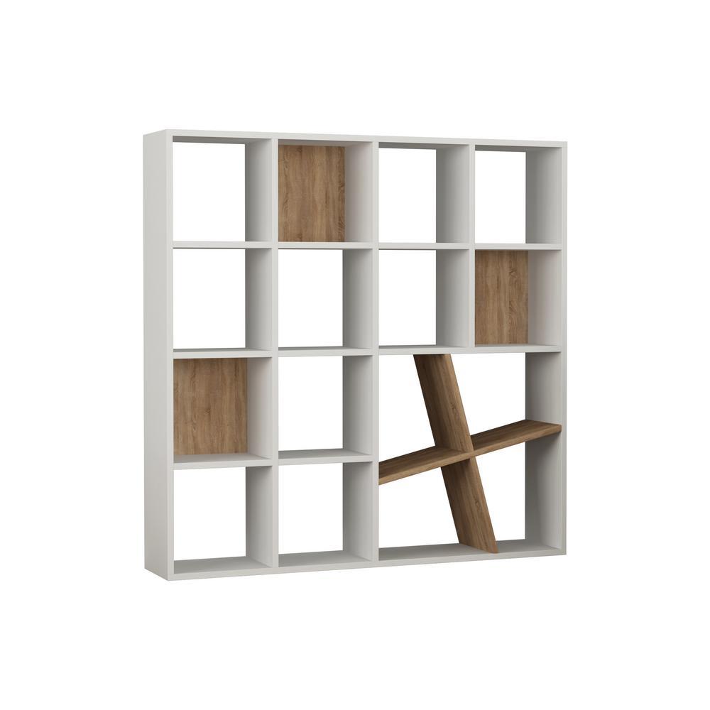 Brian White and Oak Mid-Century Modern Bookcase