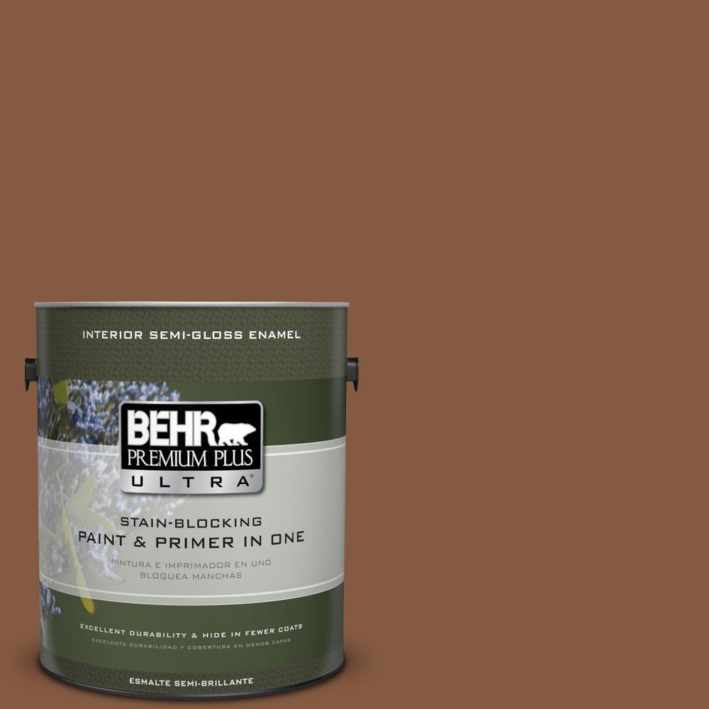 BEHR Premium Plus Ultra 1-gal. #ICC-80 Cinnamon Spice Semi-Gloss Enamel Interior Paint