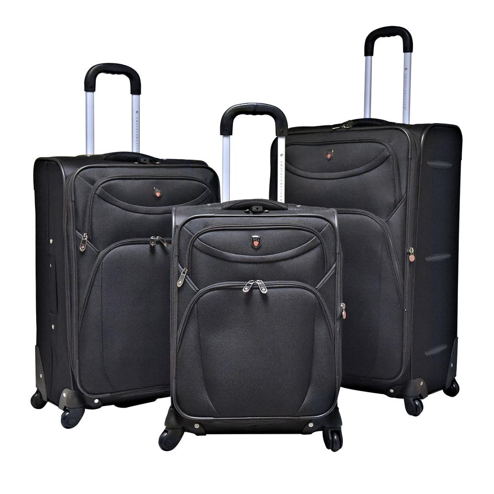 3-Piece EVA Black Expandable Vertical Luggage Set (D-Luxe)