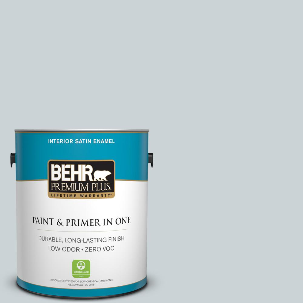 1-gal. #N470-1 Ash Blue Satin Enamel Interior Paint