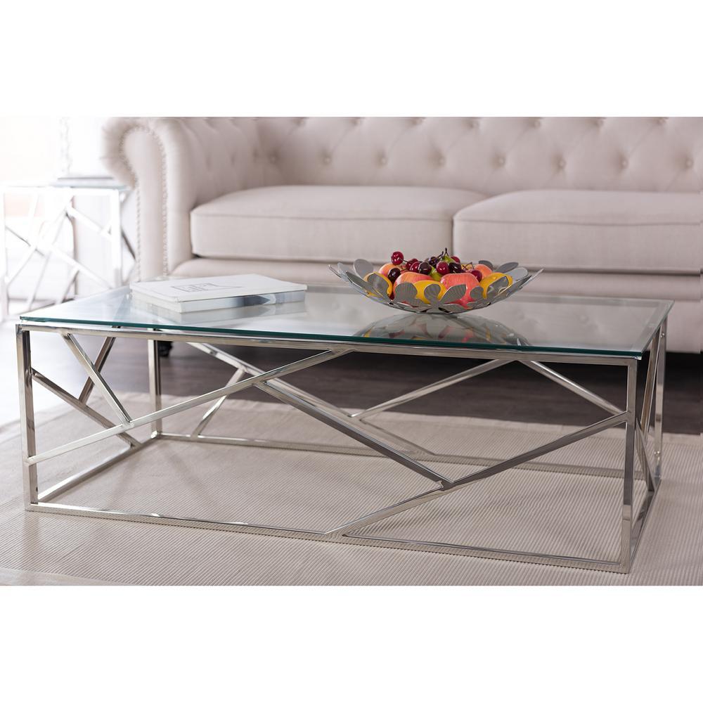 Silver Studded Coffee Table: Baxton Studio Derwent Contemporary Dark Brown Wood Coffee
