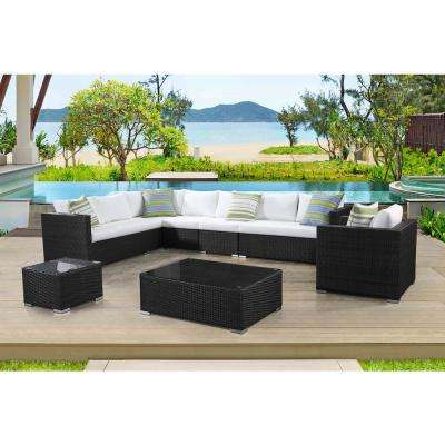 Generoso 7-Piece All-Weather Charcoal Wicker Patio Sectional Set with Off-White Cushions