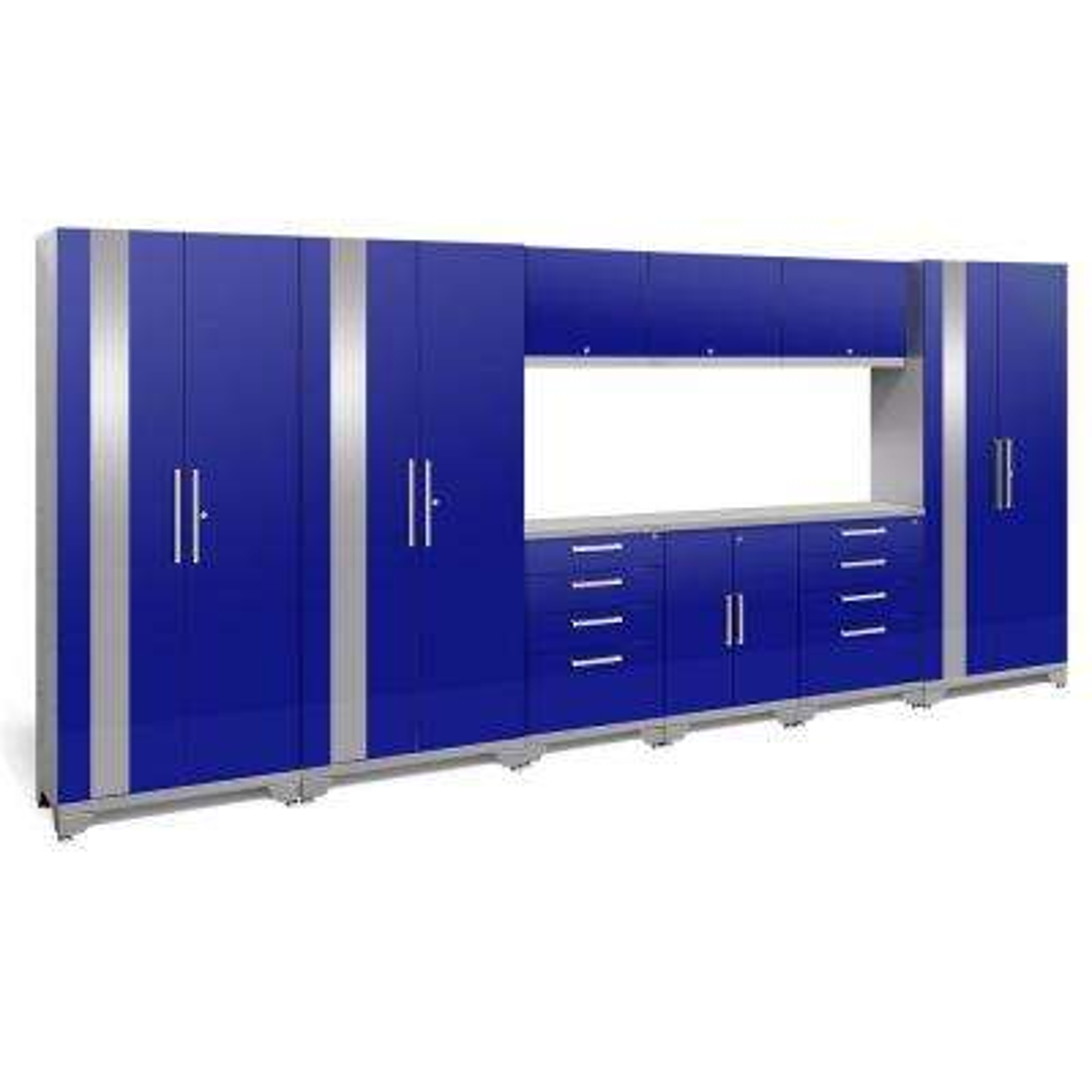 Performance 2.0 72 in. H x 162 in. W x 18 in. D Garage Cabinet Set in Blue (10-Piece)