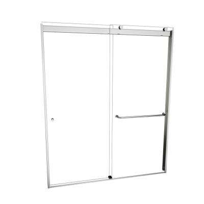 3000V Series 60 in. W x 70 in. H Semi-Frameless Sliding Shower Door in Polished Chrome with Single-Sided Towel Bar