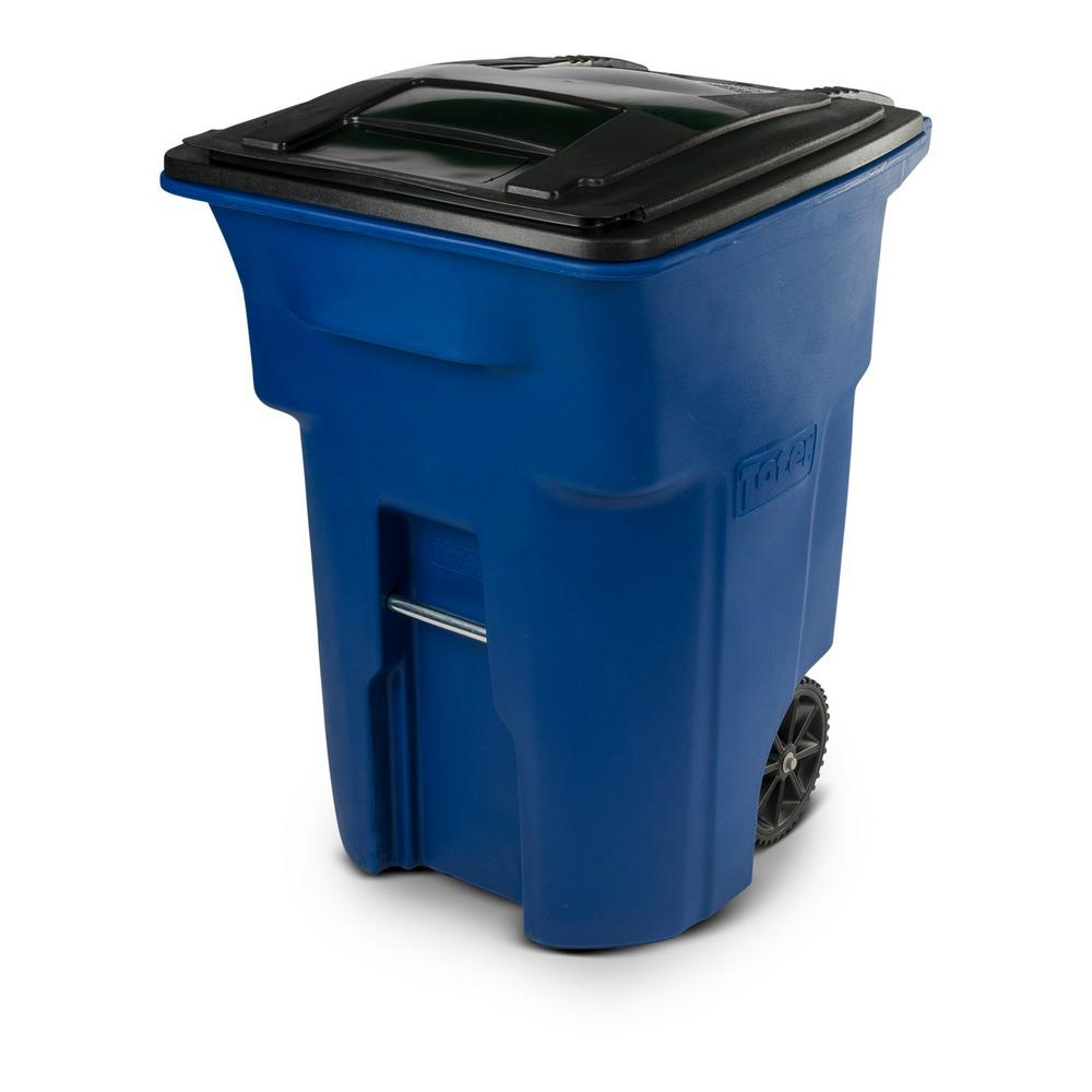 Toter 96 Gal Blue Trash Can With Wheels And Attached Lid