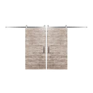 Rustica Hardware Bi-Parting 42 inch x 84 inch Rustica Reclaimed White Wash Barn Doors with Brushed Steel Arrow... by Rustica Hardware