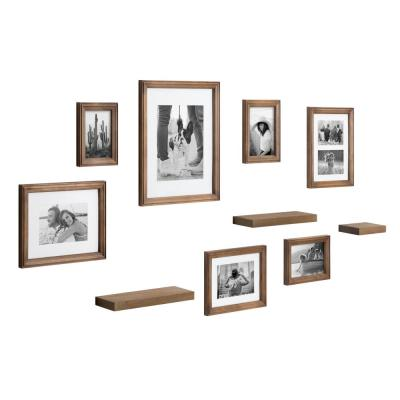 Bordeaux Natural Wood with Shelves Picture Frames (Set of 10)
