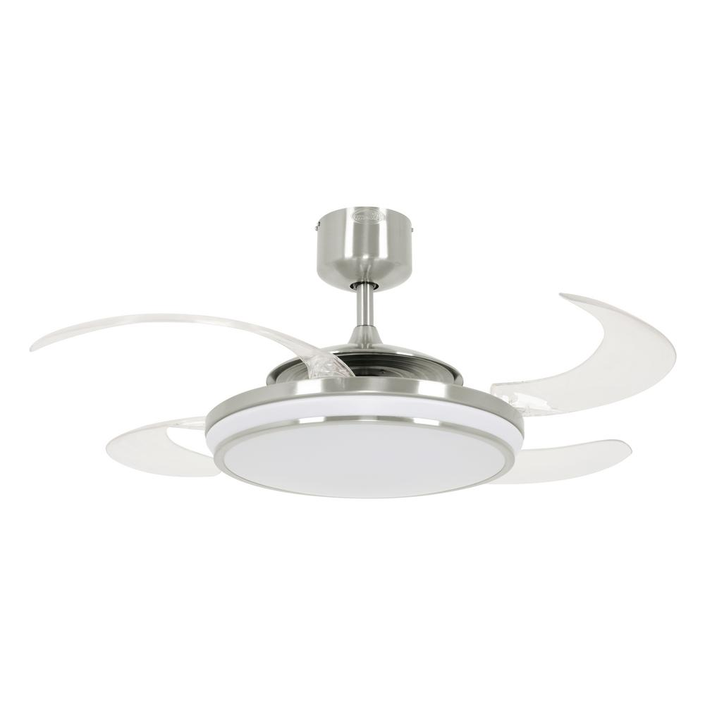Fanaway Evo1 Brushed Chrome Retractable 4 Blade 48 In Led