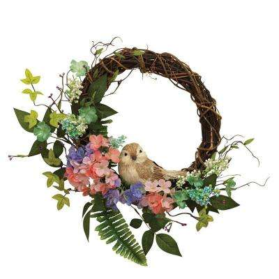 22 in. Natural Twig Wreaths with Spring Floral and Handcrafted Bird (Set of 2)