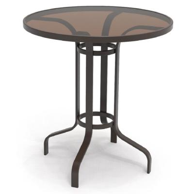 Riverbrook Espresso Brown Round Glass Top Aluminum Outdoor Balcony Bistro Table