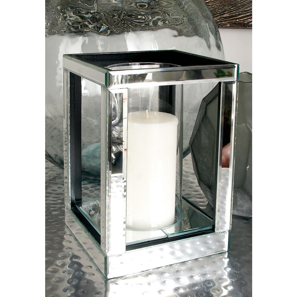 10 in. Silver Wood and Clear Glass Candle Holder