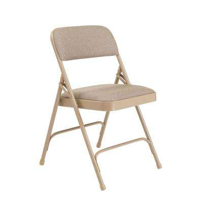 NPS 2200 Series Beige Fabric Upholstered Premium Folding Chairs (Pack of 4)