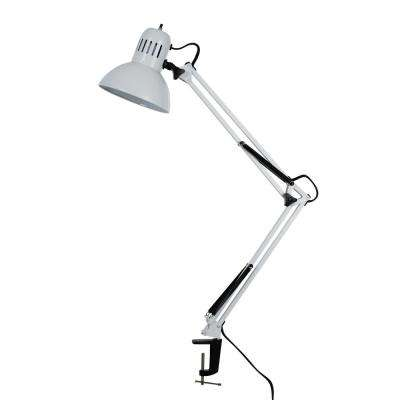37.4 in. White Swing Arm Desk Lamp with Metal Clamp