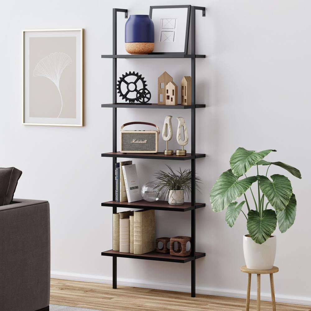 Theo Walnut Brown 5-Shelf Ladder Bookcase or Bookshelf with Black Metal Frame