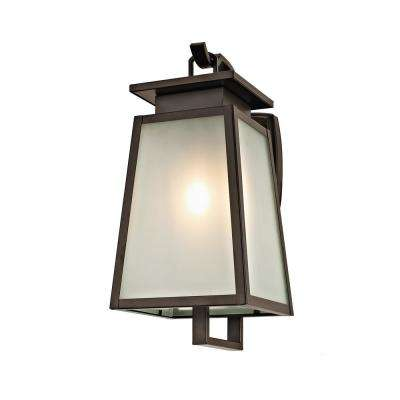 1-Light Transitional Outdoor Wall Sconce with Frosted Glass, Dark Bronze Finish
