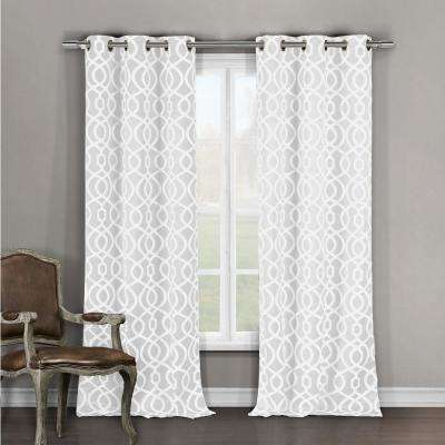 Geometric White Polyester Room Darkening Pole Top Window Curtain 36 in. W x 84 in. L (2-Pack)