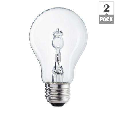 60-Watt Equivalent A19 Halogen Clear Soft White Light Bulb (2-Pack)