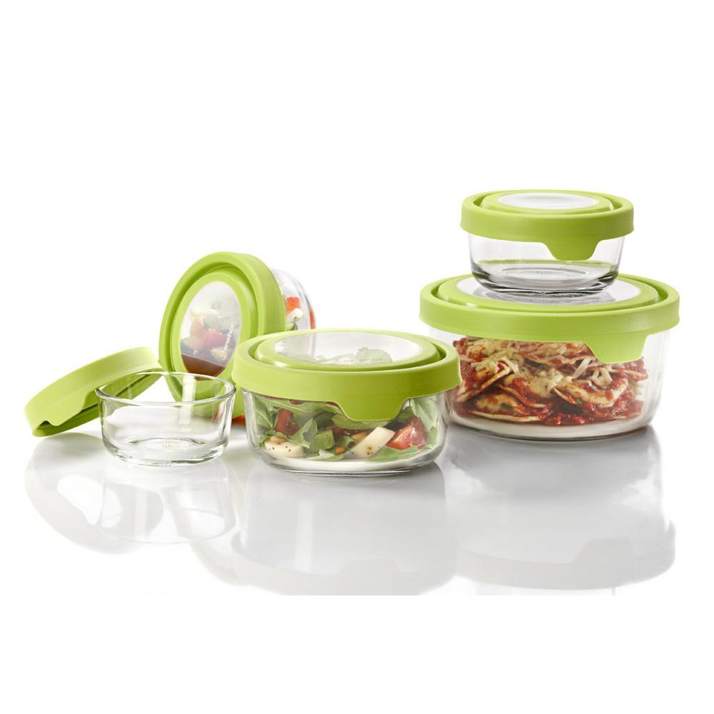 Anchor Hocking 10-Piece TrueSeal Storage Set, Clear Glass Store and re-heat your leftovers, salads, prepped food and ingredients in this glass dish. TrueSeal glass storage keeps food fresh with a leak-preventing lid for optimal storage and transportation. Over-molded design keeps food and bacteria from getting stuck in lid. Color: Clear Glass.