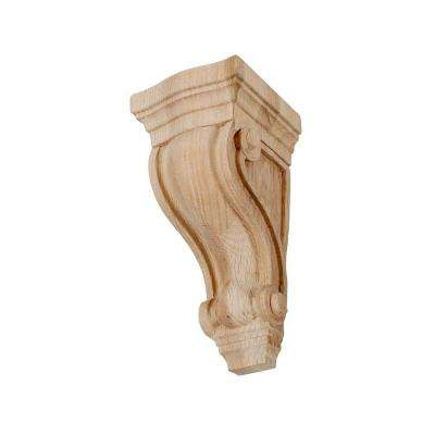 7-1/8 in. x 3-5/8 in. x 3-5/8 in. Unfinished Small North American Solid Red Oak Classic Traditional Plain Wood Corbel